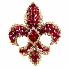 DAVID WEBB Fleur de Lys Ruby Diamond Pin by cora