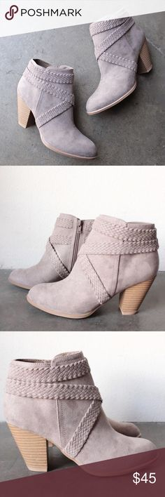 """Taupe braided suede wood heels booties Brand new in box zipper on inside of ankle 3"""" (8CM) faux wood heel synthetic outsole imported Shoes Ankle Boots & Booties"""
