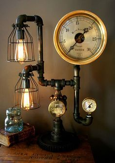 $849.00 Steampunk Lamp Light Industrial Art Machine. DIY with some copper pipes and fittings (or PVC primed and painted), a couple of gauges, ...