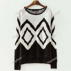 Интернет - магазины : Женская одежда, вязаный женский свитер с геометрич...