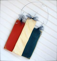Wooden Fireworks Door Decoration with Beadboard/wainscoting.  Perfect to add to your 4th of July decor. $19.95, via Etsy.