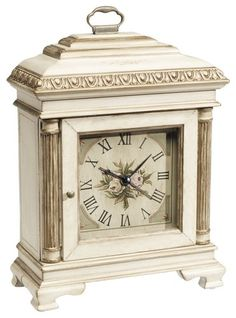 Painted Carriage Clock - Ethan Allen US. Super cute but probably better for a girl's bedroom than in a house shared with your man. Antique Mantel Clocks, Wood Clocks, Ethan Allen, Traditional Clocks, Fluted Columns, Carriage Clocks, White Clocks, Clocks For Sale, Clock Art