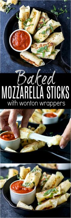 Skinny Baked Mozzarella Sticks wrapped in wonton wrappers, filled with gooey cheese, baked until golden brown and served with marinara sauce. These mozzarella sticks are the perfect party appetizer, sure to please a crowd!