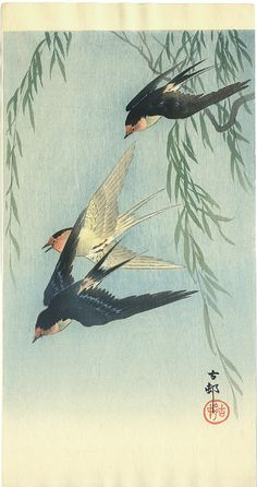 Ohara Koson swallows painting