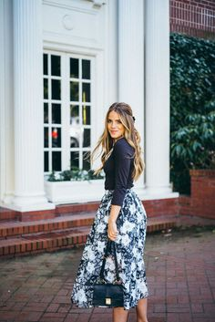 Floral skirt and navy top