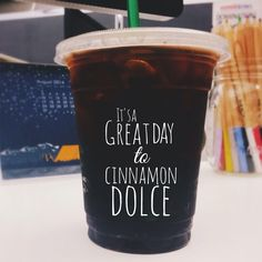 Add a pump of Cinnamon Dolce syrup to your iced coffee for a sweet, spicy kick. Then smile. :)