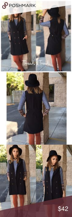 Black Double Blazer Vest Black long blazer Vest featuring three buttons in the front & black belt strap in back. Polyester                            Small Bust 40 Length 25  Medium  Bust 42 Length 26  Large  Bust 44 Length 27 Jackets & Coats Vests