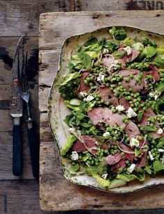 Light Lunch Ideas for Gizia Women #lunch #light Warm Lamb Salad with a Pea, Mint and Feta Cheese Dressing #recipe