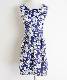 Blue & White Floral Scoop Neck Dress by MINTYGOGO #zulily #zulilyfinds