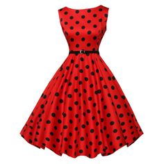 Women's SHH BoatNeck Sleeveless Vintage Tea Dress with Belt -... (56 RON) ❤ liked on Polyvore featuring dresses, red polka dot dresses, red vintage dress, tea party dresses, red sleeveless dress and vintage day dress