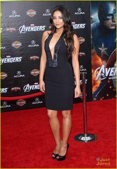 The Avengers premiere in LA 2012 - Shay Mitchell in Giorgio Armani