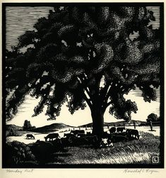 """Noonday Rest  A black ink on rag paper woodcut showing  cows grazing and resting under a tree.  The artist described this as a  """"composite scene of a typical Kansas vista.""""  Noonday Rest was drawn by  Herschel C. Logan, who was born April 19, 1901 in Magnolia, Missouri and  shortly after his birth the family moved to Winfield, Kansas.  He  attended the Chicago Academy of Fine Arts for one year.  Logan was a  commercial and advertising artist in Salina, Kansas, until his  ..."""