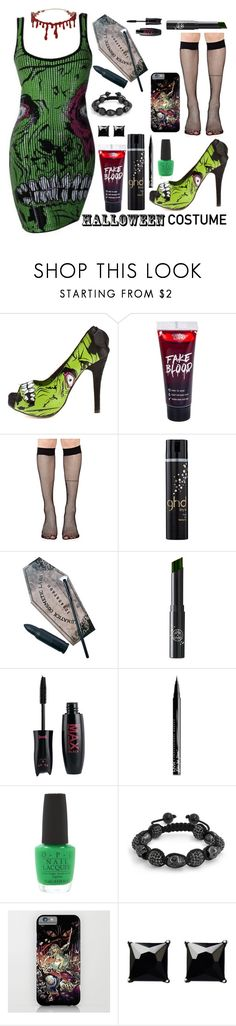 """""""Zombie Babe"""" by xxmonnyxx ❤ liked on Polyvore featuring Iron Fist, Music Legs, GHD, LunatiCK Cosmetic Labs, Rituel de Fille, NYX, OPI, Bling Jewelry and Witchery"""