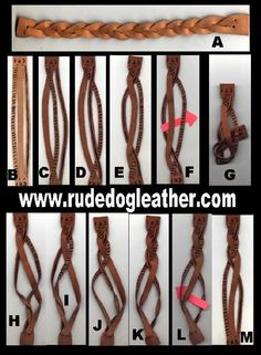 Step by step craft tutorial on how to make a mystery braid from a single piece of scrap leather.