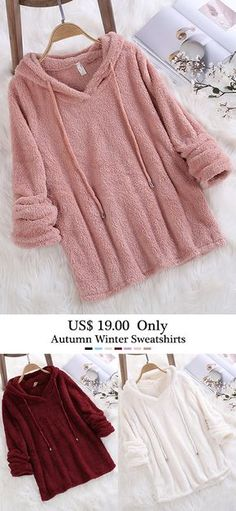Fleece Hooded Solid Color Long Sleeve Sweatshirt can show the feminine elegance well, get best women Hoodies & Sweatshirts online. Fashion Outfits, Womens Fashion, Winter Outfits, Winter Fashion, Cute Outfits, Couture, Clothes For Women, Retro, My Style
