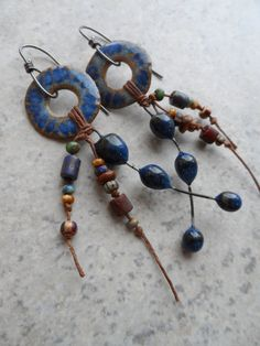 Denim Thingamajigs... Long Ceramic, Tassel and Sterling Wire-Wrapped Earrings sold. JulieThelen on Etsy.