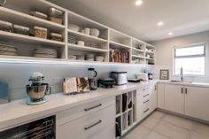 White scullery open shelves