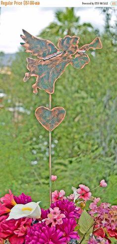 SALE Angel Outdoor Metal Sculpture, Memorial Garden Art Stake, Copper Angel Garden Marker, Metal Yard Art, Angel Grave Marker, Garden Stake