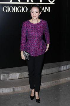 Gwiazdy na pokazach haute couture wiosna-lato 2014 w Paryżu: Zhang Ziyi na prezentacji Armani Prive, fot. East News
