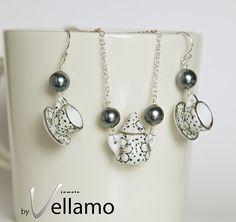 Sterling silver miniature tea set jewelry set by byVellamo on Etsy