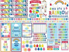 This all-in-one decor bundle includes everything you need to incorporate colors of the rainbow, bright patterns and a touch of sunshine throughout your classroom—from bulletin board accents and borders to posters and nameplates! Classroom Borders, Classroom Design, Classroom Organization, Classroom Decor, Future Classroom, Owl Classroom, Classroom Management, Elementary Classroom Themes, First Grade Classroom