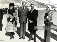 February 1975, St, Moritz,The Shah of Iran (Persia) with French President Valery Giscard D'Estaing with their wives the Empress Farah Diba and Annne - Aymone Giscard D'Estaing, right, The Shah of Iran (1919-1980) succeeded his father in 1941, but was to leave Iran in 1979, after much criticism, with a revolutionary government taking over
