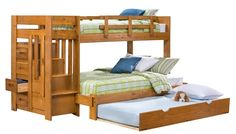 Slumberland Furniture - Tanglewood Collection - Honey TF Stair Bunk w/Trundle - Slumberland Furniture Stores and Mattress Stores