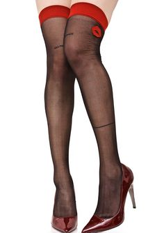 With A Kiss Thigh Highs seal the deal, babe! These adorable thigh highs feature a stretchy black mesh construction that grips yer curves, thick red banding, thin backseam detail, and lil kiss graphics at the top of the thighs.