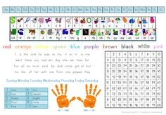 Jolly Phonics Desk Mat - Great support for early readers and writers! The printable desk mat includes the first 42 Jolly Phonic sounds and images along with the complete upper and lower case alphabet in print, color words, days for the week and some useful sight words perfect for early writing attempts.