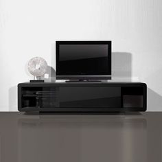 Genesis Plasma TV Stand In High Gloss Black With Sliding Door - Best Sellers, Furniture In Fashion