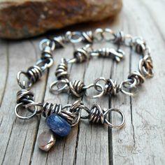 Blue Kyanite Gemstone Chain Bracelet Handmade