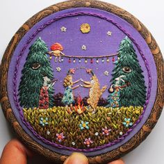 I finally finished this one!! // 'Celebration in the Forest' , 4'' Hoop , 20+ hours of work. Comission artworks are welcome. Please e-mail me baobaphandmade@gmail.com for inquiries.