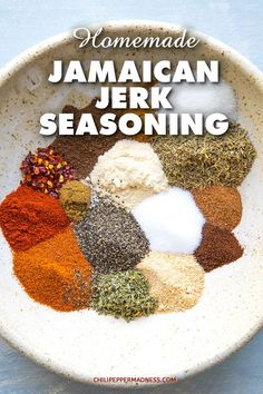 Make your own Jamaican jerk seasoning blend at home with this easy recipe, filled with loads of piquant and aromatic spices. Make your own Jamaican jerk seasoning blend at home with this easy recipe, filled with loads of piquant and aromatic spices. Jamaican Cuisine, Jamaican Dishes, Jamaican Recipes, Jamaican Jerk Seasoning, Caribbean Jerk Seasoning Recipe, Jamaican Jerk Rub Recipe, Spicy Jerk Chicken Recipe, Dry Rubs, Gourmet