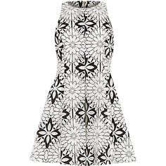 Black and white floral organza lace dress