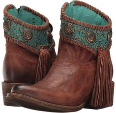corral boots cowboy boots cognac/turquoise : b - medium Estilo Country, Boho Boots, Lace Up Boots, Leather Collar, Leather Heels, Soft Leather, Western Wear, Western Boots, Fashion Shoes