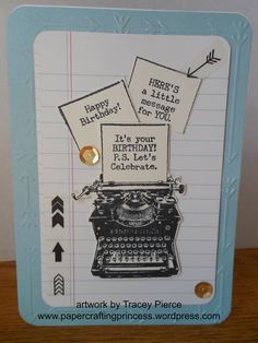 Papercrafting Princess - art by Tracey Pierce: Typed Note - SOTM Blog Hop #ArrowsEmbossingFolder