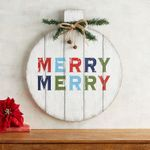 Deck your walls with the homespun charm and colorful lettering of our wooden plank ornament featuring realistic evergreens tied up in a jute bow trimmed with tiny bells. Decor Crafts, Crafts To Make, Wood Crafts, Christmas Crafts, Christmas Decorations, Christmas Ornaments, Pier One Christmas, Christmas Signs, Rustic Christmas