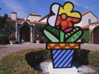 """Romero Britto's """"Flower Pot"""",   Pinecrest Public Library (Pinecrest, Florida). Learn more about Romero Britto and Florida (The Sunshine State) at: www.floridanest.com"""