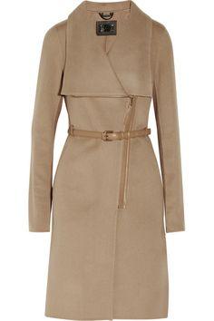 Mackage Sophie-B leather-trimmed wool-blend coat