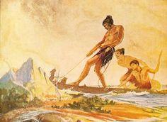 In Maori mythology, Maui fished up the North Island using a jaw-bone as a fish hook Hawaiian Legends, Hawaiian Art, New Zealand Tattoo, New Zealand Art, Polynesian Art, Polynesian Culture, Maui Demigod, Hawaiian Mythology, The Power Of Myth