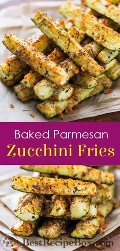 Baked Parmesan Zucchini Fries - Informations About Healthy Zucchini Fries Recipe! Baked Parmesan Zucchini Fries Pin You can easily - Zucchini Pommes, Parmesan Zucchini Fries, Parmesan Recipes, Recipe Zucchini, Zucchini Bites, Baked Squash And Zucchini Recipes, Bake Zucchini, Zucchini Chips, Garlic Parmesan