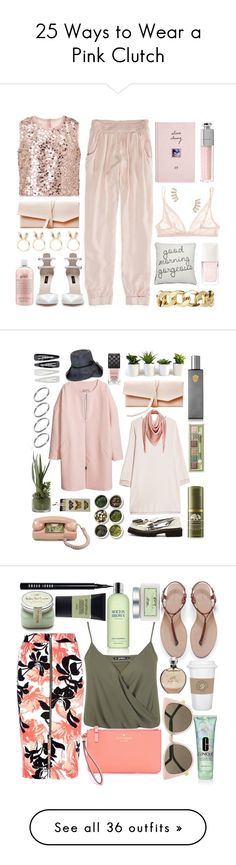 """25 Ways to Wear a Pink Clutch"" by polyvore-editorial ❤ liked on Polyvore featuring pinkclutch, waystowear, American Eagle Outfitters, Monsoon, ASOS, Calvin Klein Underwear, Christian Dior, Zara, Monki and Jeweliq"