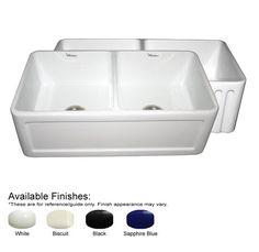 """Farmhaus 33"""" x 18"""" Double Bowl Farmhouse Kitchen Sink"""