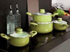Komplet garnków z powłoką ceramiczną Fusion Fresh 8-elementowy, zielony AMBITION