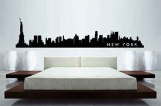 "NEW YORK  SKYLINE DECAL -LARGE 72"" X17"" wall decal in Black #Contemporary"