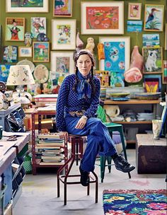 Designer Nathalie Lété in John Derian's New York City shop. Photography by Simon Watson.