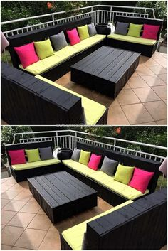 Design your balcony or terrace in elegant style by re-claiming wood pallets. We have crafted excellent black colored sofa to decor outdoor area marvelously. This creatively crafted wood pallet furniture sofa provides exceptional sitting style for your out Pallet Furniture Sofa, Diy Pallet Sofa, Diy Garden Furniture, Diy Pallet Projects, Furniture Ideas, Furniture From Pallets, Pallette Furniture, Pallet Sectional, Rustic Furniture