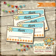Instant Download - Printable Chore Punch Cards - Reward Cards - Neutral Theme