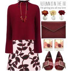 Burgundy autumn by jan31 on Polyvore featuring мода, Proenza Schouler, MSGM, Miu Miu, Rebecca Minkoff, Marni and Polaroid