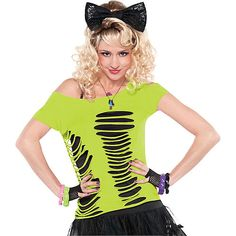 decade day outfits Accessories - Wigs, Leggings, Fingerless Gloves and More! - Party City Now I know what to do with Amanda's ruined Shirts - perfect for decade days 80s Party Costumes, 80s Halloween Costumes, 1980s Costume, 80s Party Outfits, Neon Outfits, Glow Party Outfit, Easy Diy Costumes, Costume Ideas, Party Looks